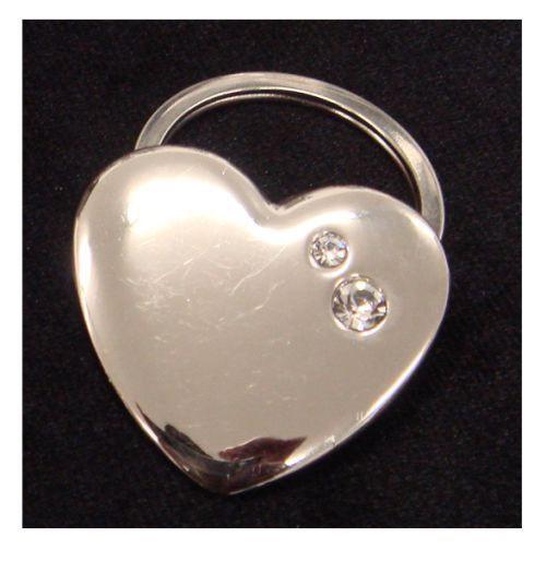 Heart Shape Keyring W/2 Crystals