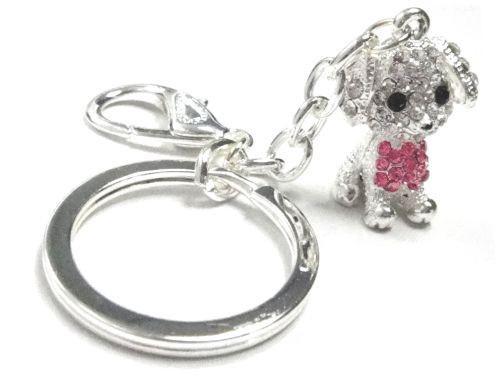 Pink Diamante Dog Keyring