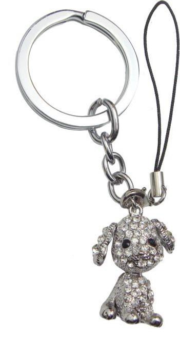 Silver Diamante Dog Keyring