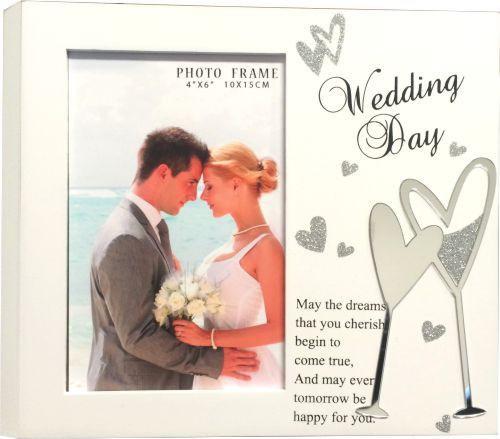 White Wedding Block Photo Frame