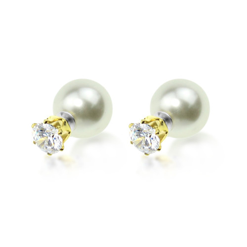 Crystal and Pearl Front and Back Earrings
