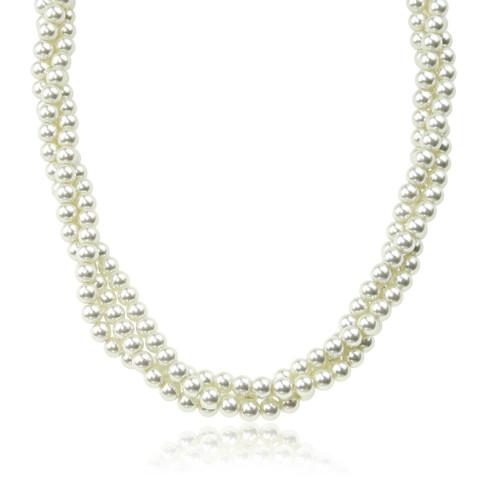 Glass Pearl Twist Necklace