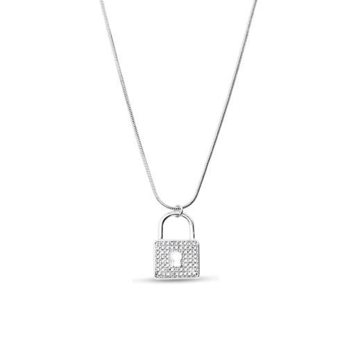 Silver Pad Lock Necklace