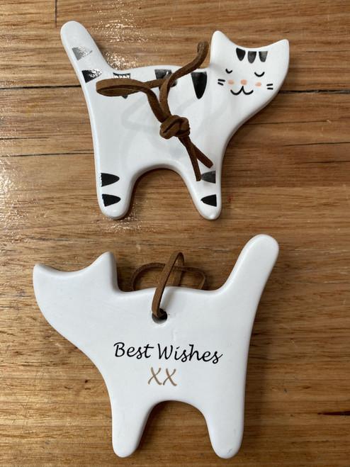 Best Wishes- Cat Ceramic Plaque