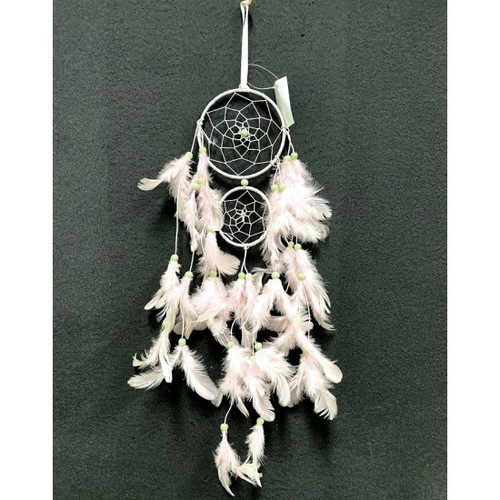White Feather Beaded Dream Catcher
