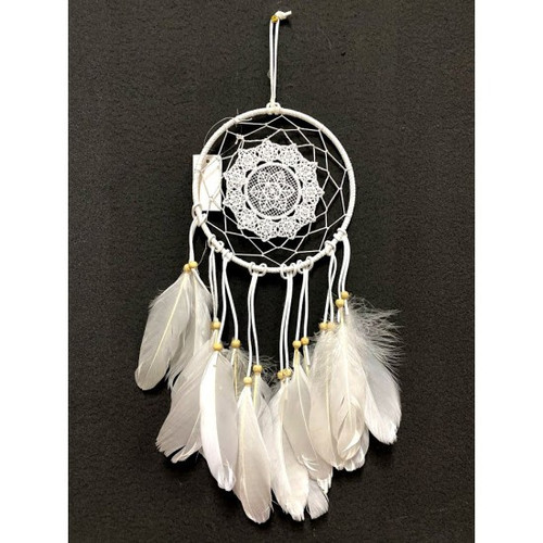 White Bead and Feathers Dream Catcher