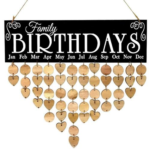 Wooden Family Dates Mark Reminder Sign DIY Calendar Board Home Hanging Decor