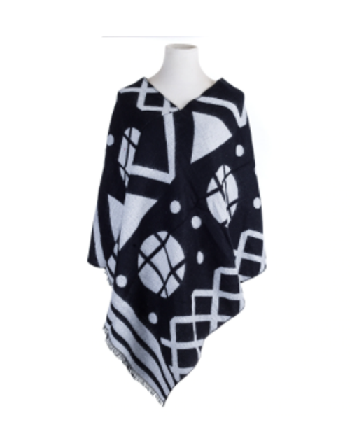 Black & White Abstract Poncho