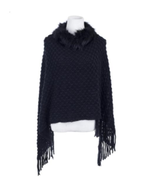 Black on Black Checkered Knit Poncho
