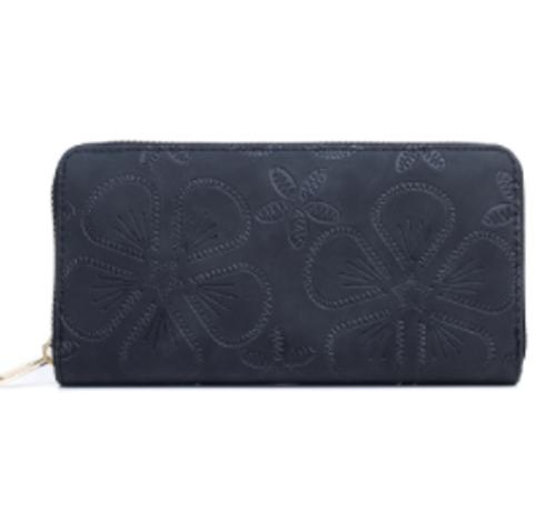 Black on Black Flowers Wallet
