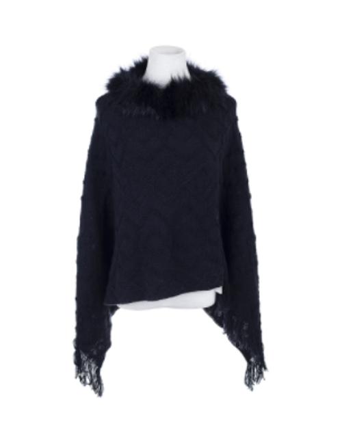 Black Zigzag Poncho w/ Fur Collar