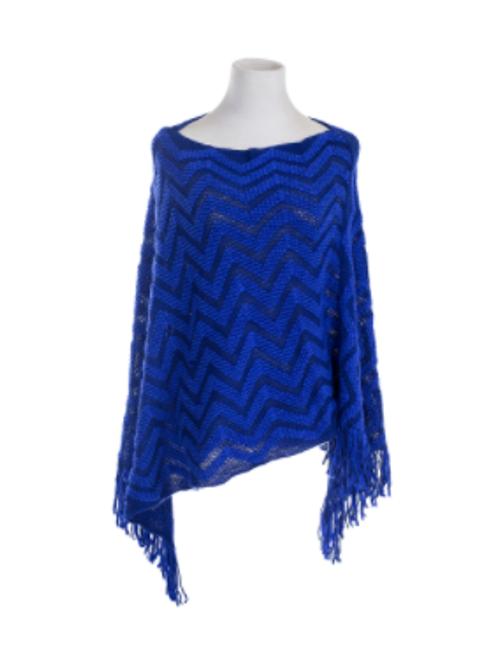 Blue Zigzag Poncho