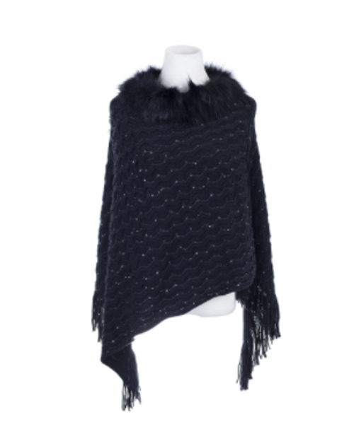Knitted Black Poncho w/ Fur Collar