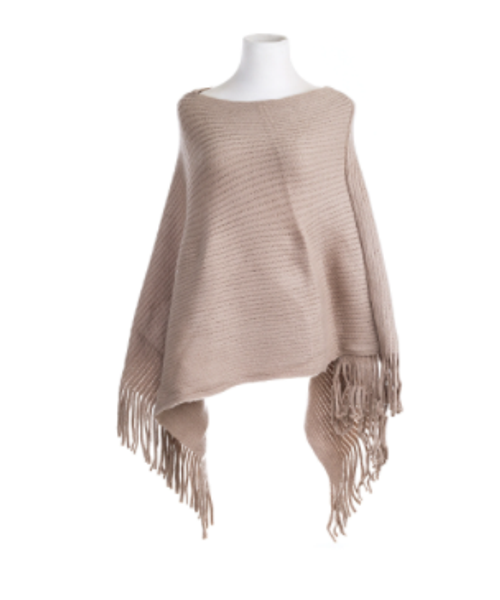 Ribbed Nude Poncho