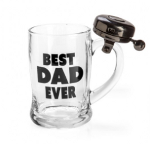 Best Dad Ever Beer Glass w/ Bell
