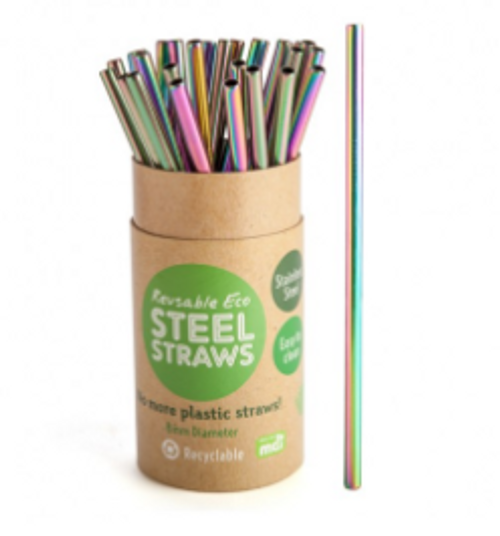 Rainbow Reusable Metal Straw