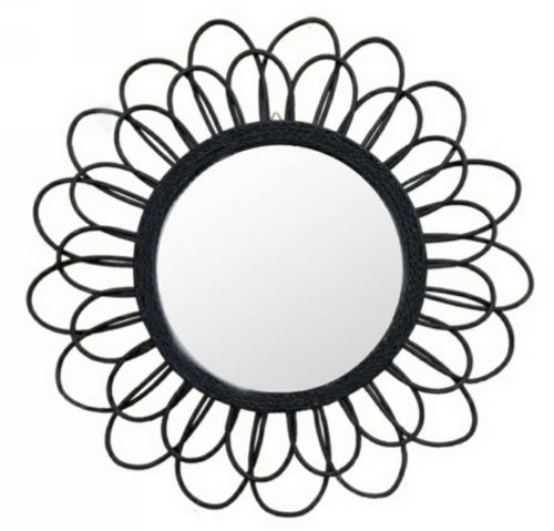 Daisy Rattan Mirror Black 80cm