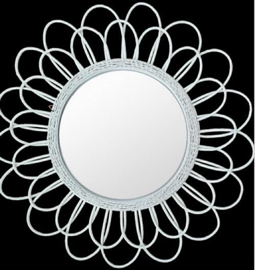Daisy Rattan Mirror White 80cm