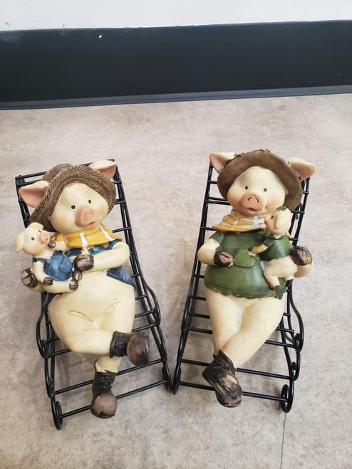Rocking Chair Pigs Figurine