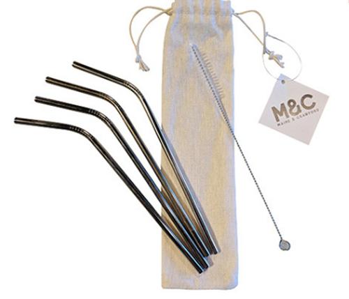 4pk Curved Straws w/Carry Bag
