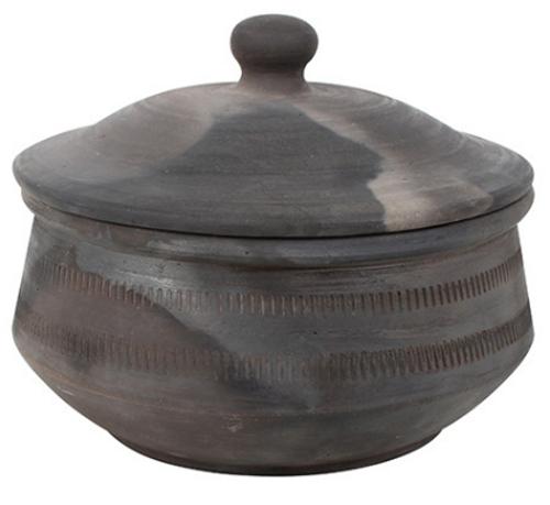 Drama Charcoal Terracotta Pot w/Lid
