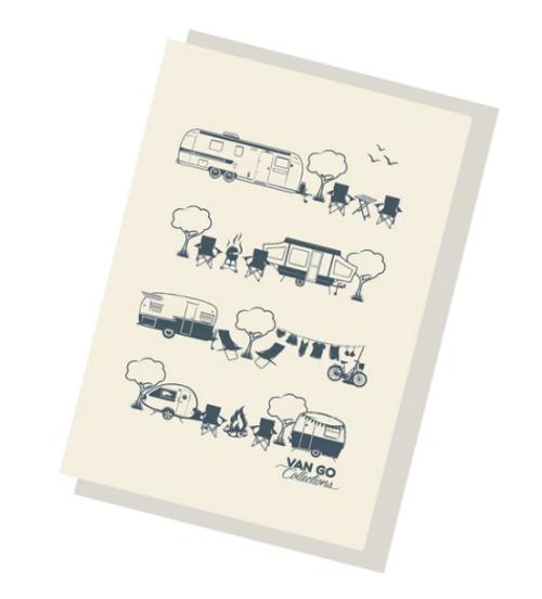 Grey Caravans Greeting Card