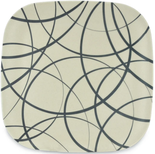Circle Line Design Bamboo Plate 26cm