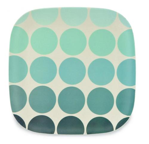 Blue Circles Bamboo Plate 26cm
