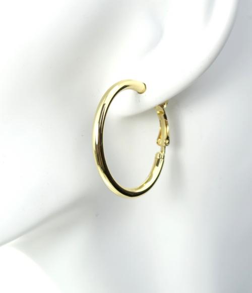 Clutchless Hoop Earrings Gold