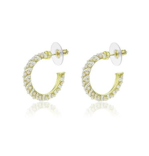 Gold Crystal Hoop  Earrings