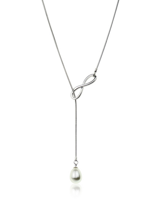 Infinity W/Pearl Slider Necklace