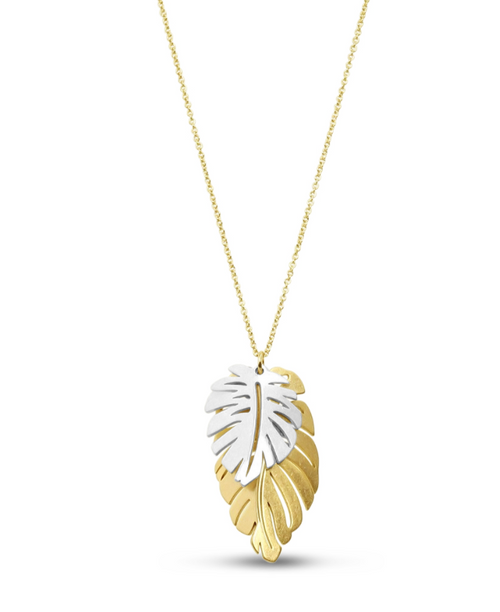 Two Tone Leaf Necklace