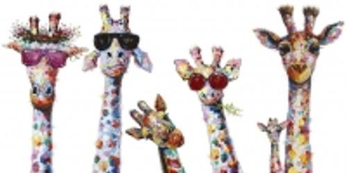 Colourful Giraffe Family Canvas