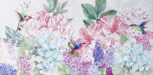 Hydrangeas Hummingbird painting