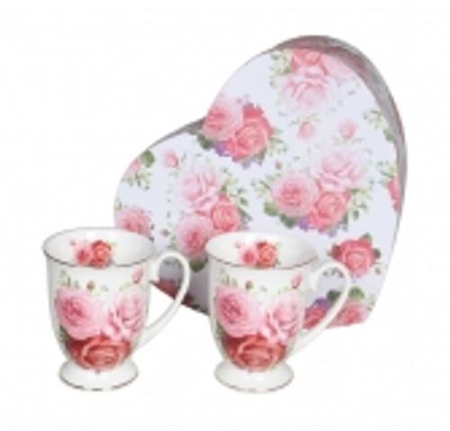 Pink Rose 2pce Mug Set