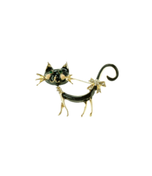Black and Gold Cat Brooch