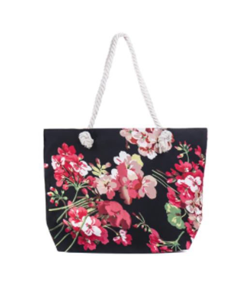Black Flowers Beach bag