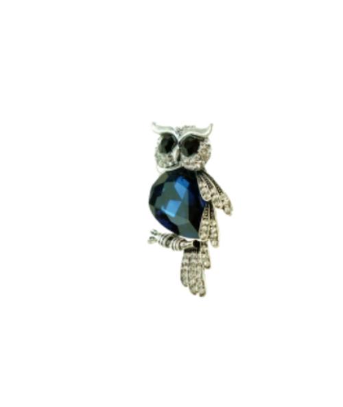 Blue Crystal Owl Brooch