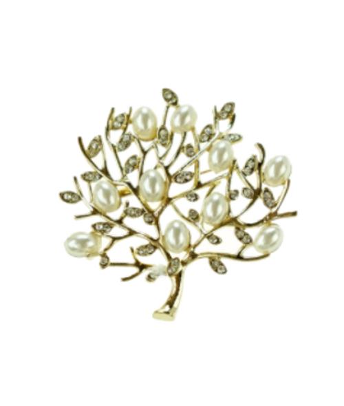 Crystal and Pearl Tree Brooch
