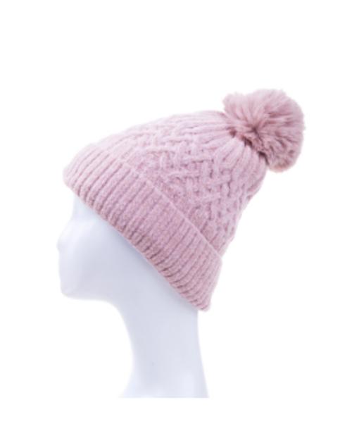 Pink Knitted Cross Design Beanie