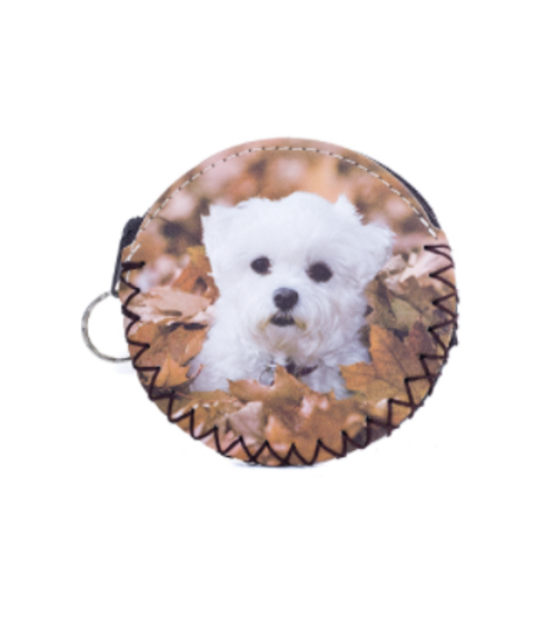 Puppy in Leaves Coin Purse