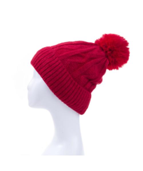 Red Swivel Design Knitted Beanie