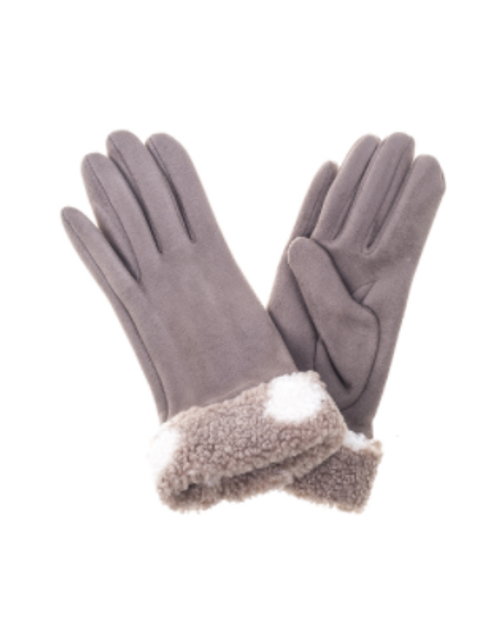 Winter Gloves with Fur/ Coffee