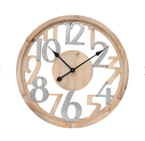 Tin & Wood Floating Wall Clock 60cm