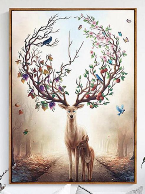 Deer of Life Framed Canvas