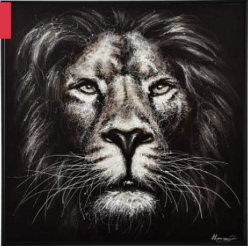 Gazing Lion Framed Painting
