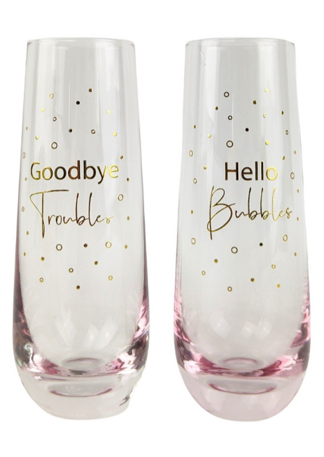 Goodbye troubles Stemless Champagne glass s/2