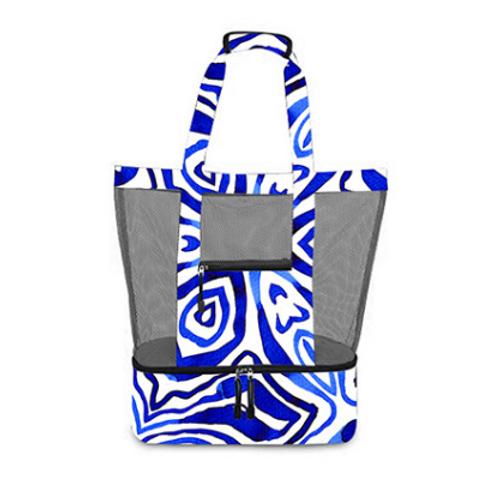 2 in 1 Blue Tie Dye Beach Cooler Bag