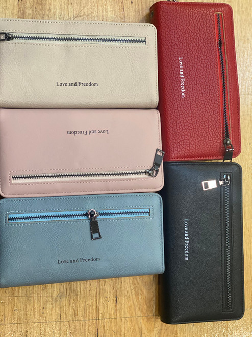 Love and Freedom Faux Leather Wallet