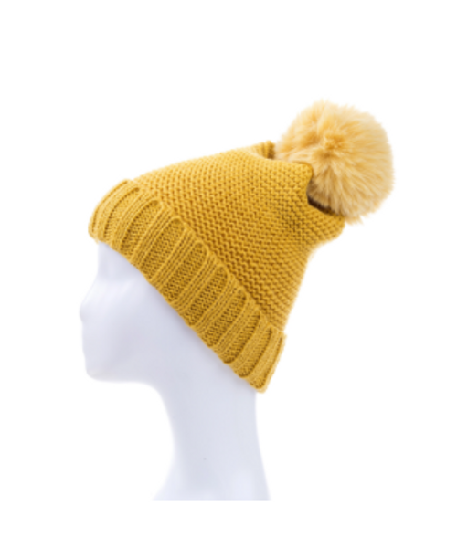 Basic Knitted Beanie with Pompom